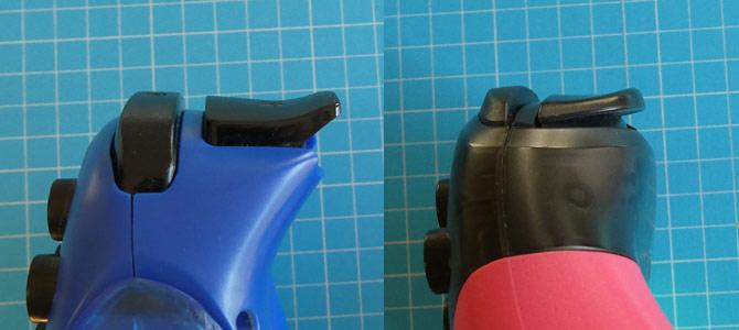 「ワイヤレスホリパッド」と「Proコントローラー スプラトゥーン2エディション」の「ZR」ボタンの比較画像