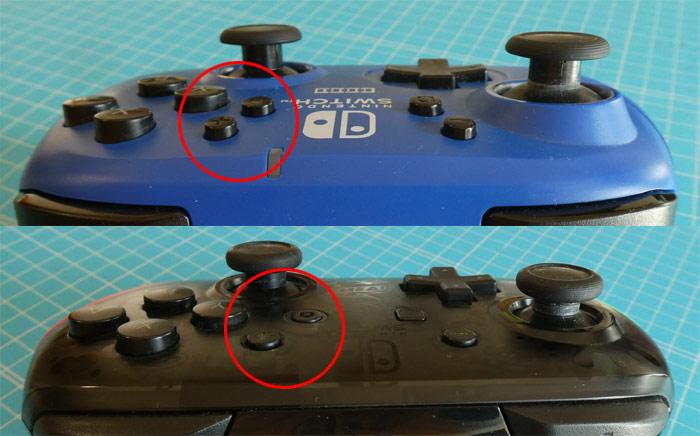 「ワイヤレスホリパッド」と「Proコントローラー スプラトゥーン2エディション」の「+」「-」「ホーム」ボタンの比較画像
